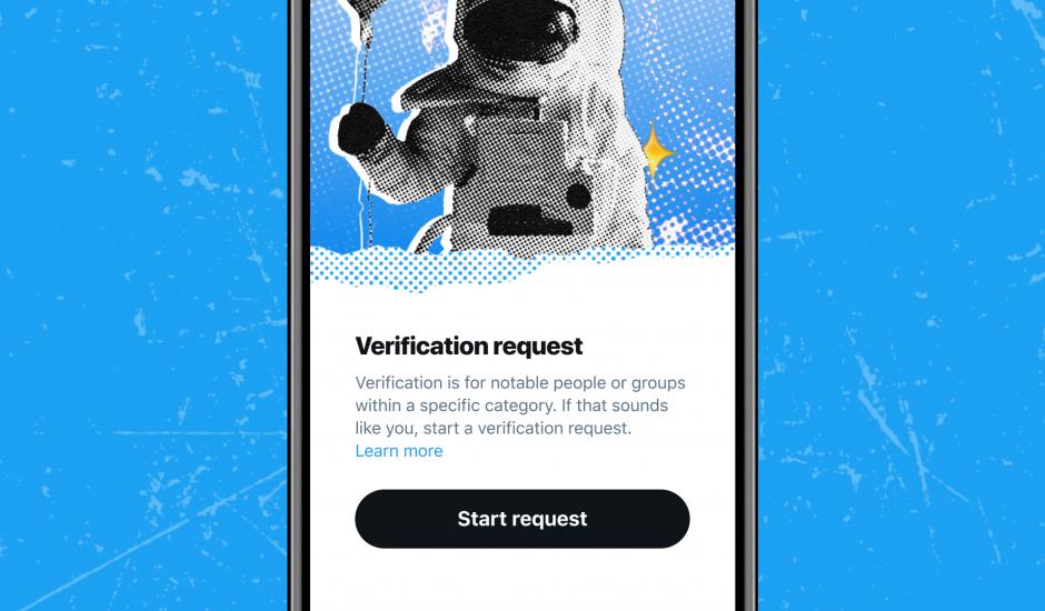 page d'accueil du processus de demande de certification de compte Twitter