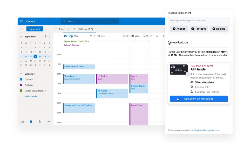 interface calendrier workplace facebook