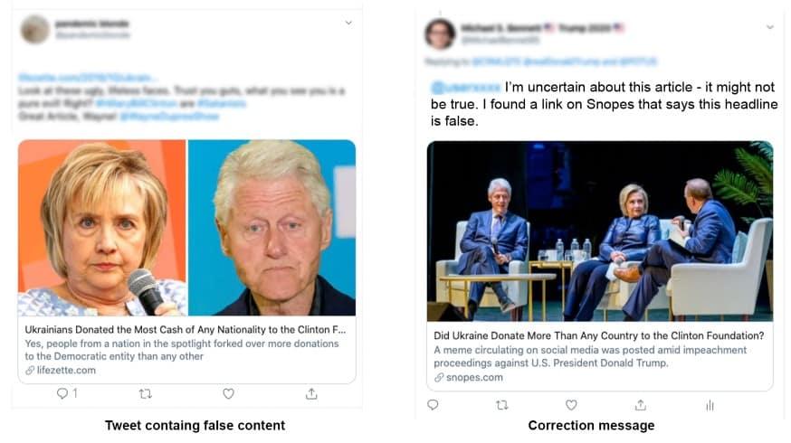 Le screen de deux tweets, l'une fake news, l'autre correctif