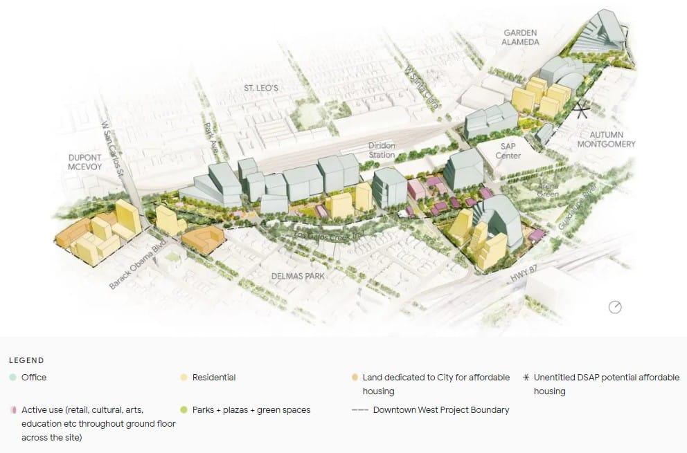 Plan d'un quartier de San Jose géré par Google