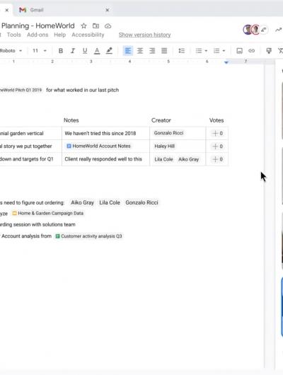Présentation de l'intégration de Google Meet dans Google Docs