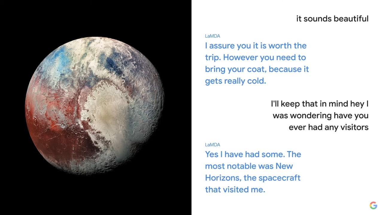 Conversation de LaMDA en Pluton