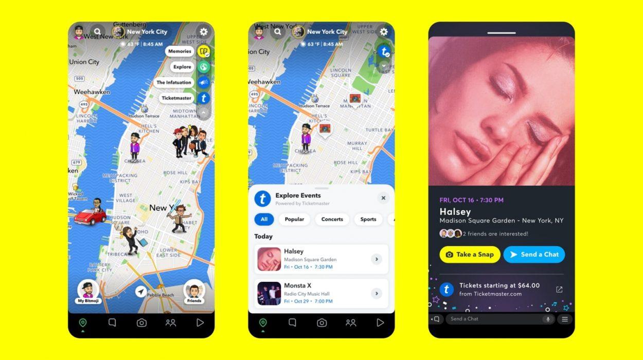 démonstration de la fonctionnalité layer sur snapchat qui permet d'acheter, par exemple, un billet de concert