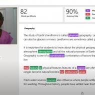 Capture d'écran d'une jeune fille travaillant sa lecture avec Reading Progress de Microsoft.