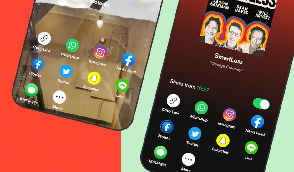 nouvelles options de partage sur les réseaux sociaux de spotify