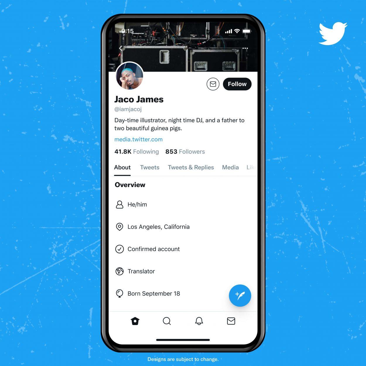 démonstration du nouvel onglet sur les profils Twitter