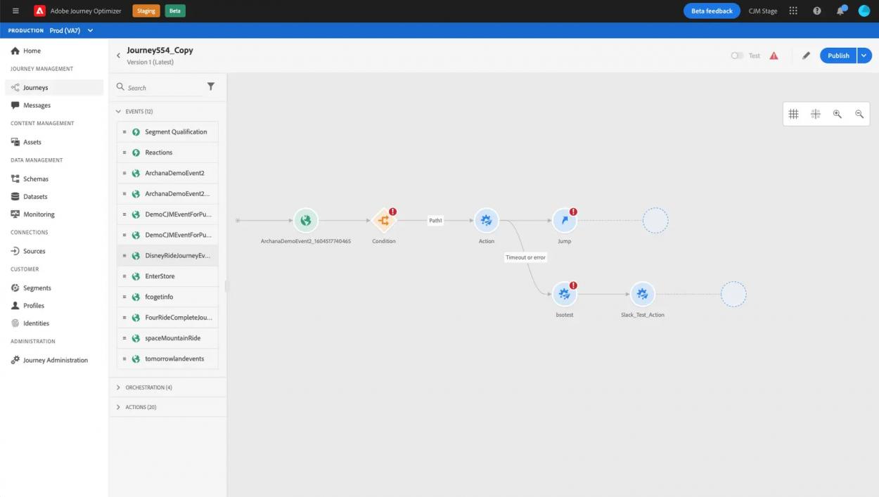 Capture d'écran de la création d'un parcours client sur Adobe Journey Optimizer