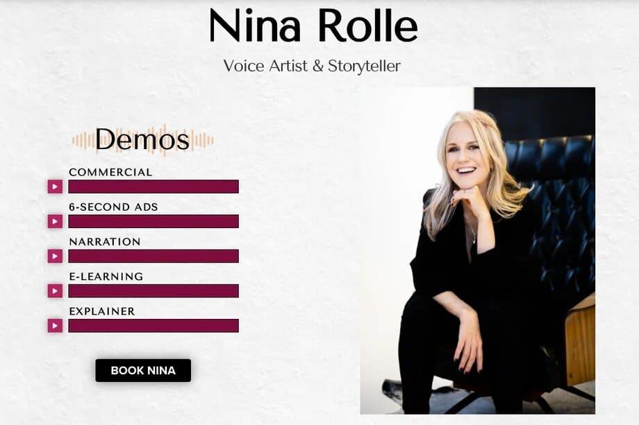 captura de pantalla del sitio de nina rolle, voz potencial de alexa de amazon