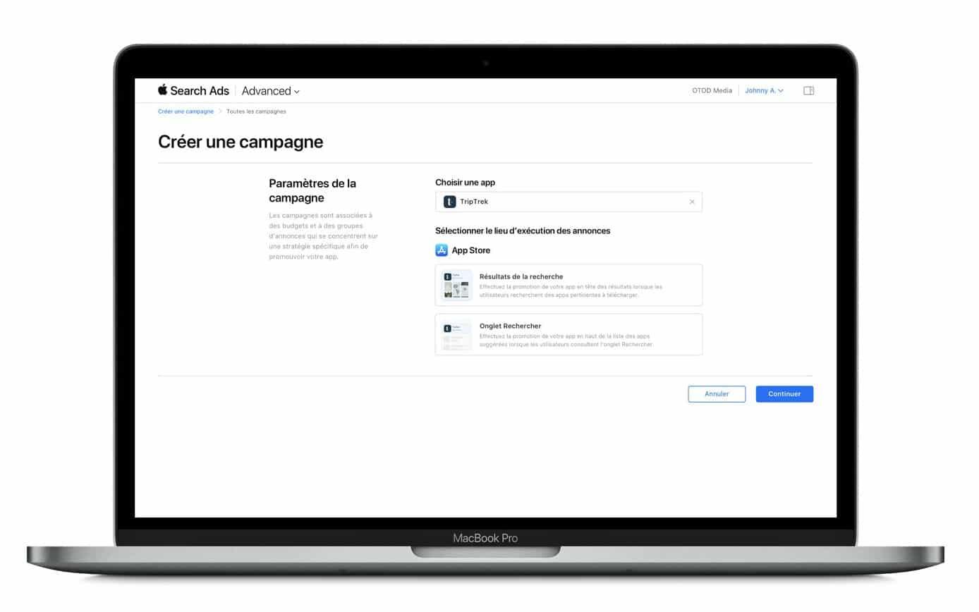 Interface de l'Apple Search Ads et l'option de l'emplacement