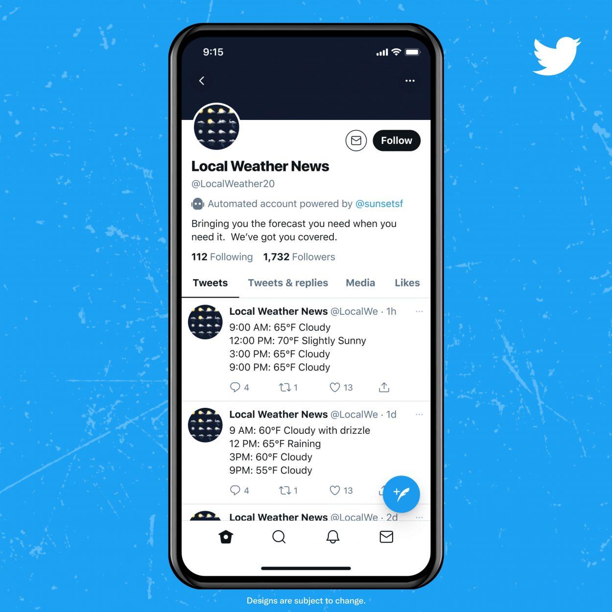 introduction d'une mention en haut des profils de bots twitter
