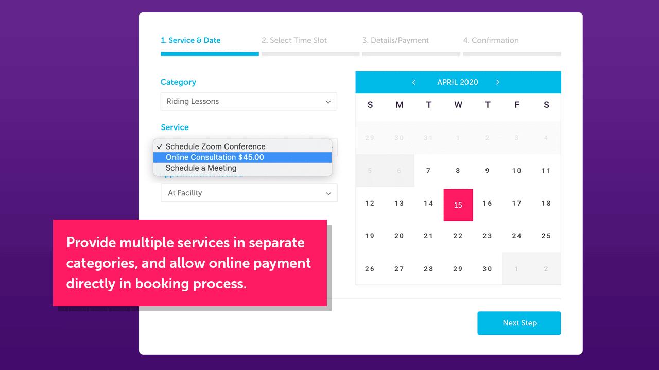 Choix du service via Brindle Booking