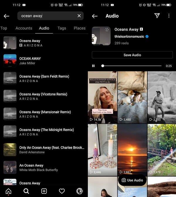 """démonstration de l'onglet """"audio"""" d'instagram, avec une liste de chansons et des reels"""