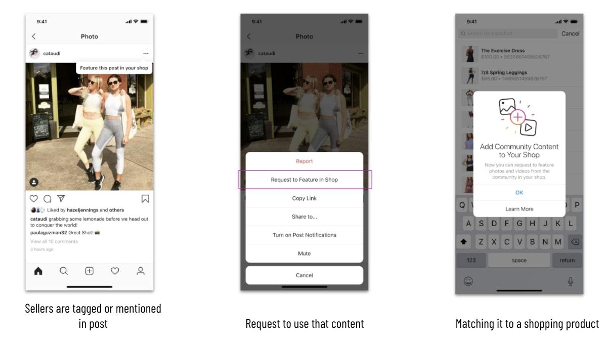 interface instagram avec community shopping