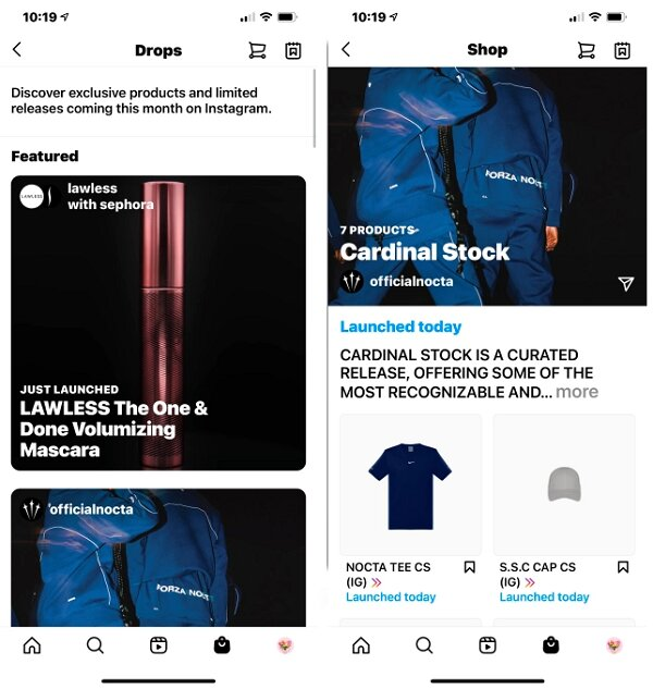 capture d'écran de la section Drops d'Instagram, dédiée au lancement de produits