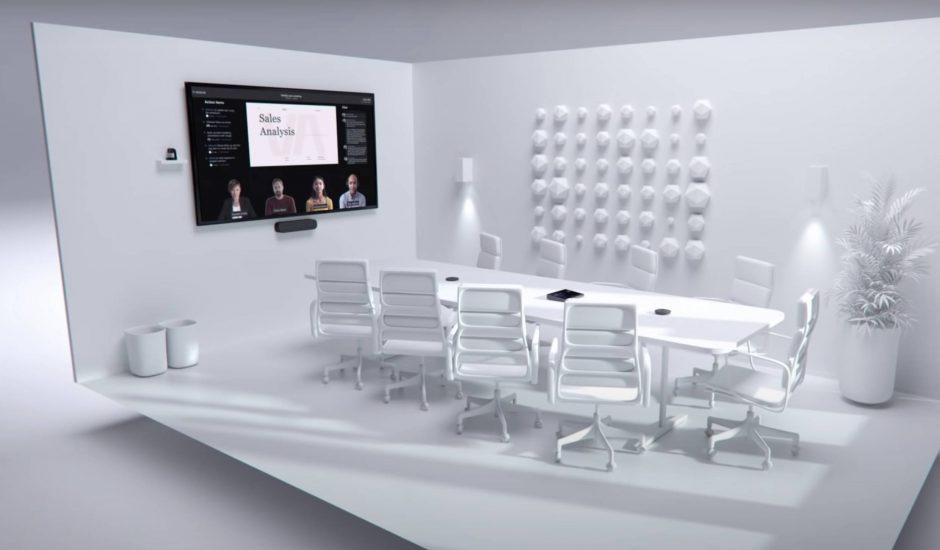 Une salle de réunion futuriste imaginée par Microsoft.