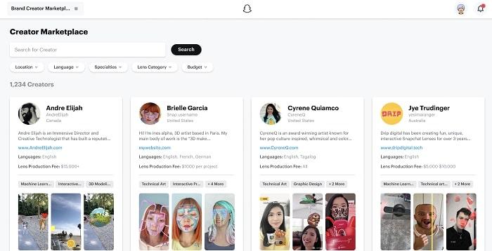 """interface de la """"marketplace des créateurs"""" de snapchat"""