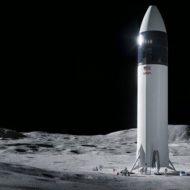 Vision d'artiste du vaisseau Starship posé sur la Lune.