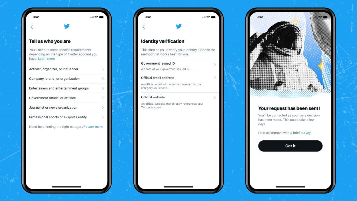 images des différentes étapes pour faire une demande de certification sur twitter