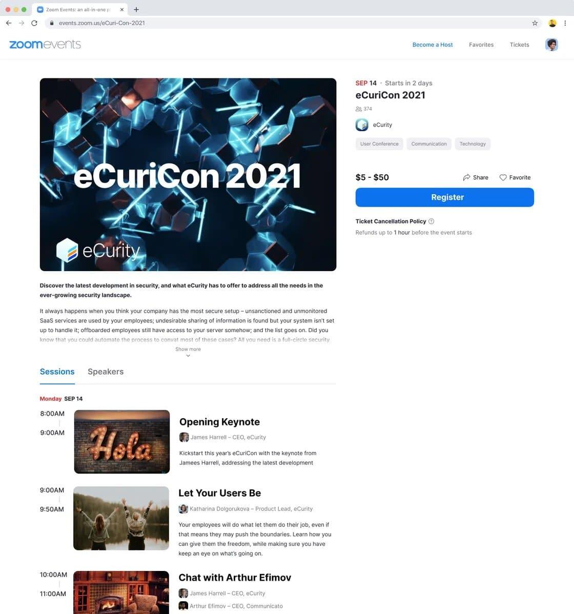 capture d'écran de zoom events et de la planification des événements
