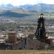 Ville de Butte dans le Montana avec une mine fermée