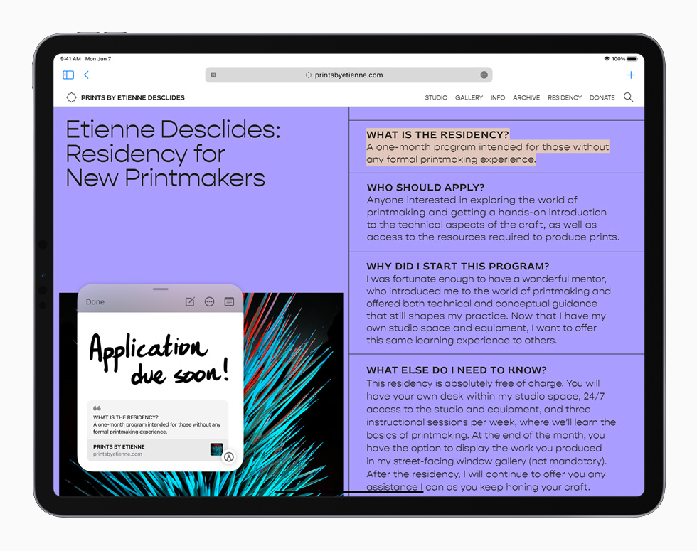 WWDC 2021. Capture d'écran d'un iPadOS 15 en mode prise de notes.