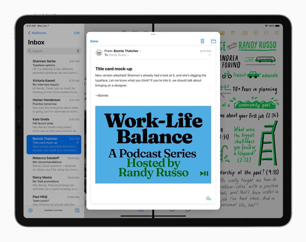 WWDC 21. Capture d'écran présente iPadOS 15 avec Split View et Slide Over.
