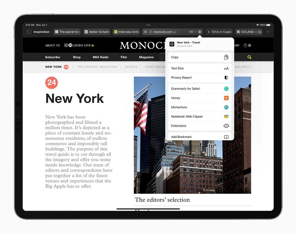 WWDC 2021. Présentation des onglets Safari dans l'iPadOS 15.