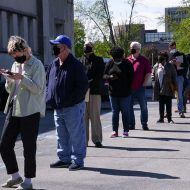 File d'attente pour les allocations chômage aux États-Unis.