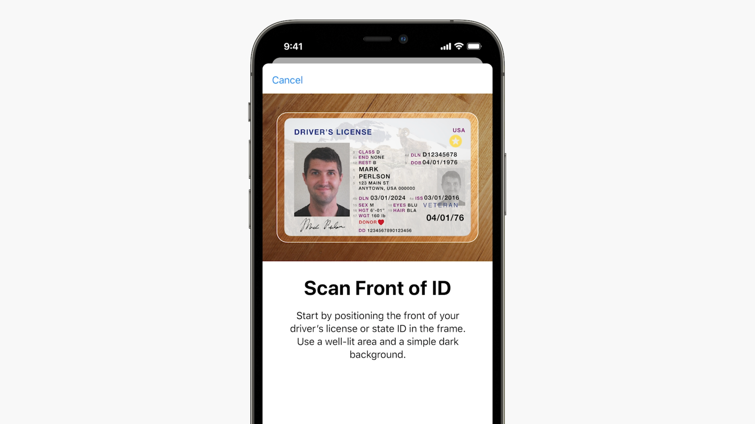Inscription de son permis de conduire dans iOS 15