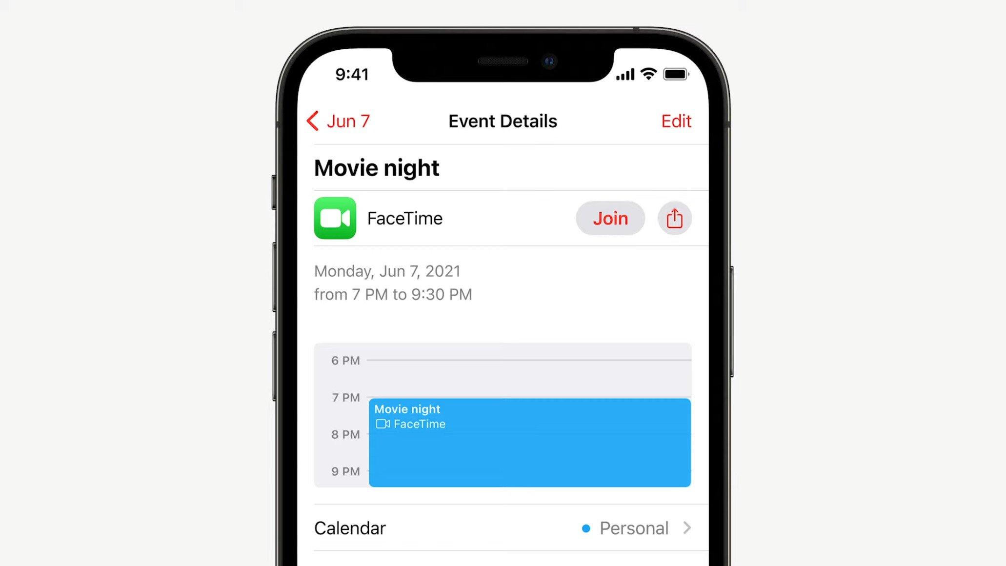 présentation du lien permettant de rejoindre une conversation FaceTime depuis l'application calendrier
