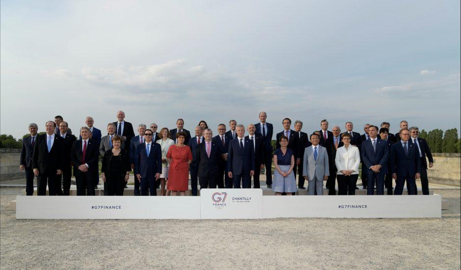 Les ministres de finances du G7 lors de leur réunion à Chantilly en France en juillet 2019