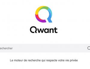 Capture d'écran de la page d'accueil du moteur de recherche Qwant.