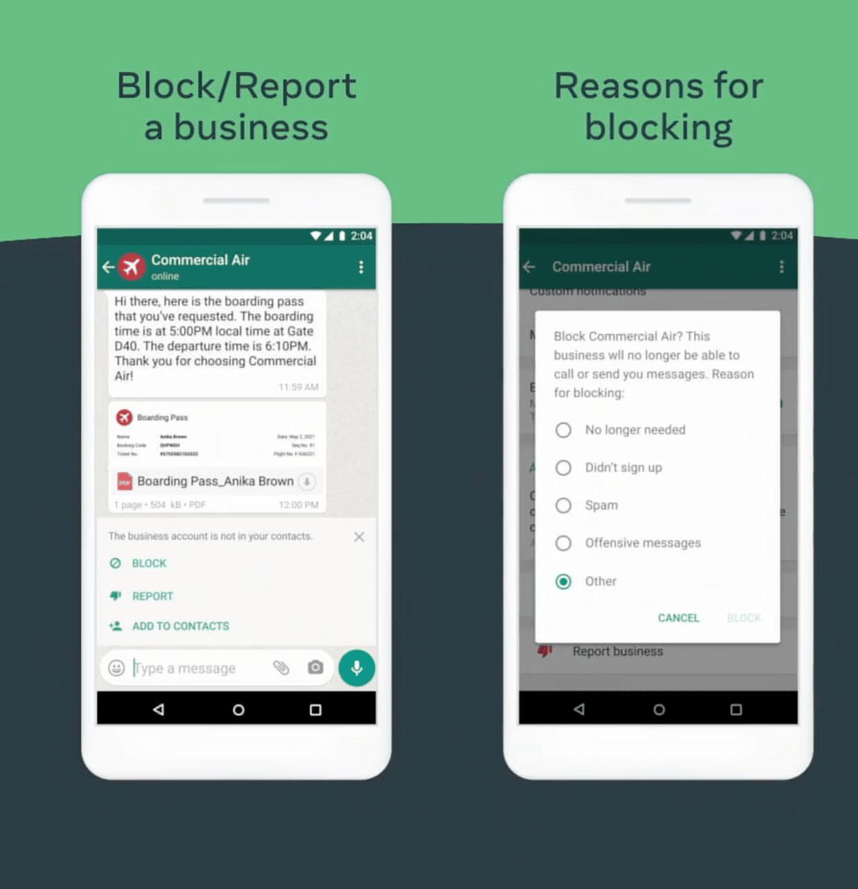 Image de deux écrans présentant comment bloquer une entreprise sur WhatsApp.