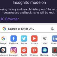 la page incognito du navigateur UC Browser
