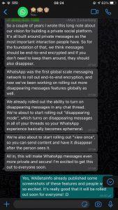 Discussion entre Mark Zuckerberg et le média WABetaInfo sur Whatsapp