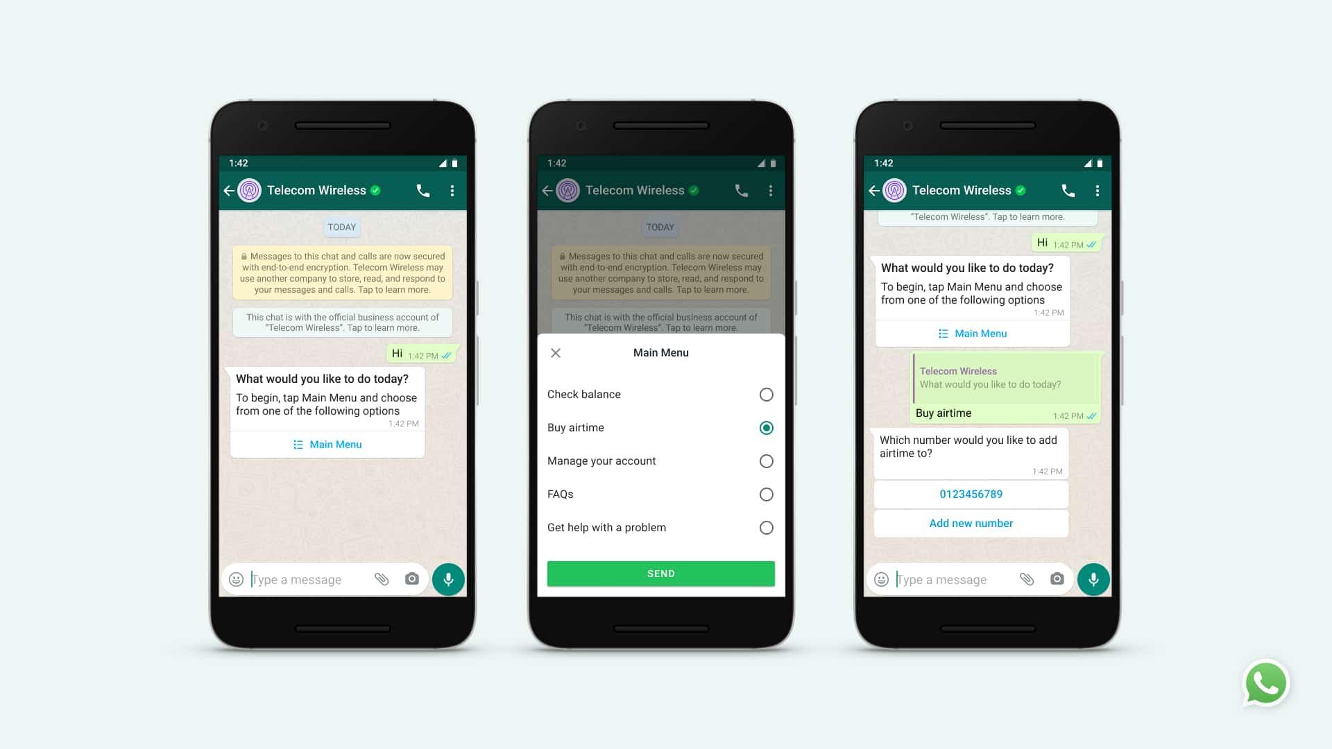 Image de trois téléphones qui montre le fonctionnement des sondages WhatsApp.