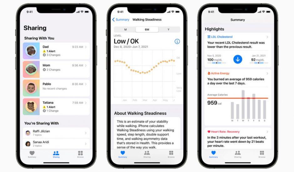 présentation des nouvelles fonctionnalités d'Apple Santé