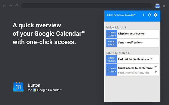 aperçu de l'extension Button for Google Calendar