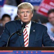 Donald Trump donne un discours pendant un meeting.