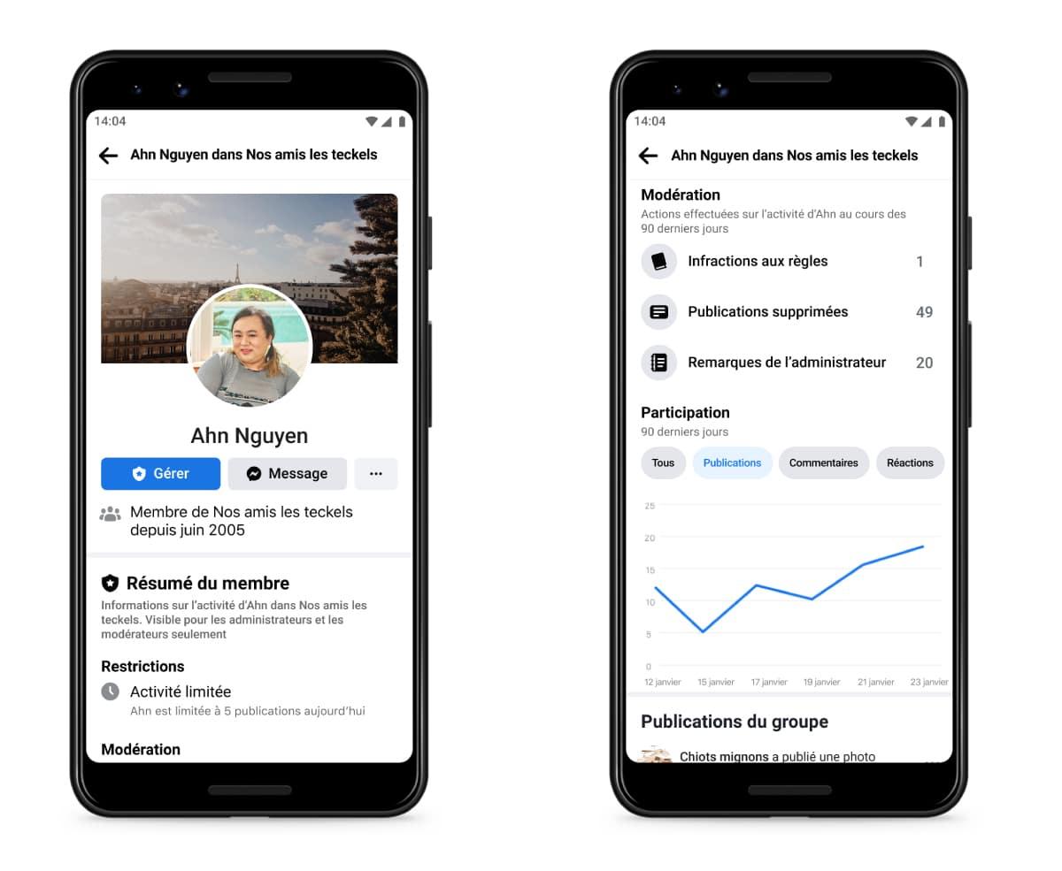 écrans affichant les données de participation d'un membre d'un groupe Facebook