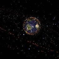 Représentation des débris spatiaux flottant autour de la Terre.