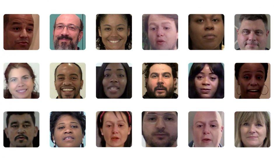 multitudes de visages, certains étant des deepfakes et d'autres non