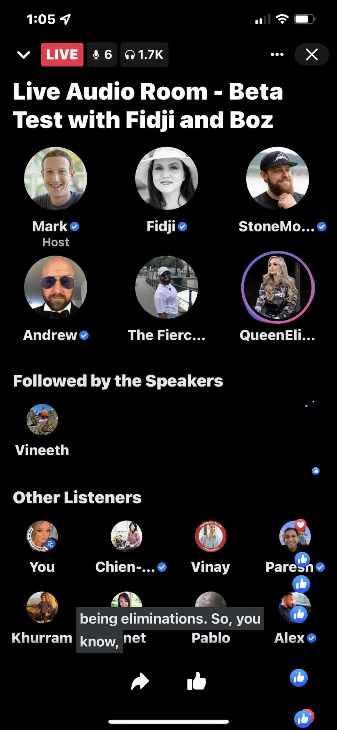 Participantes de un Live Audio Rooms en Facebook.