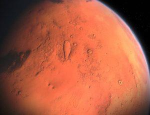 Une vue d'artiste de la planète Mars.