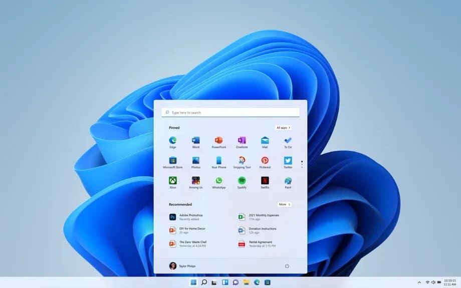 interface du nouveau windows 11 avec une nouvelle barre de tâches et un nouvel explorateur de fichiers