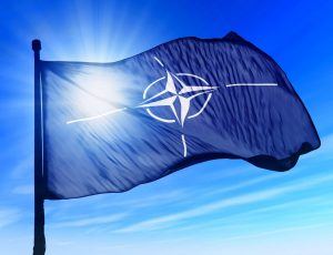le drapeau avec le logo de l'OTAN
