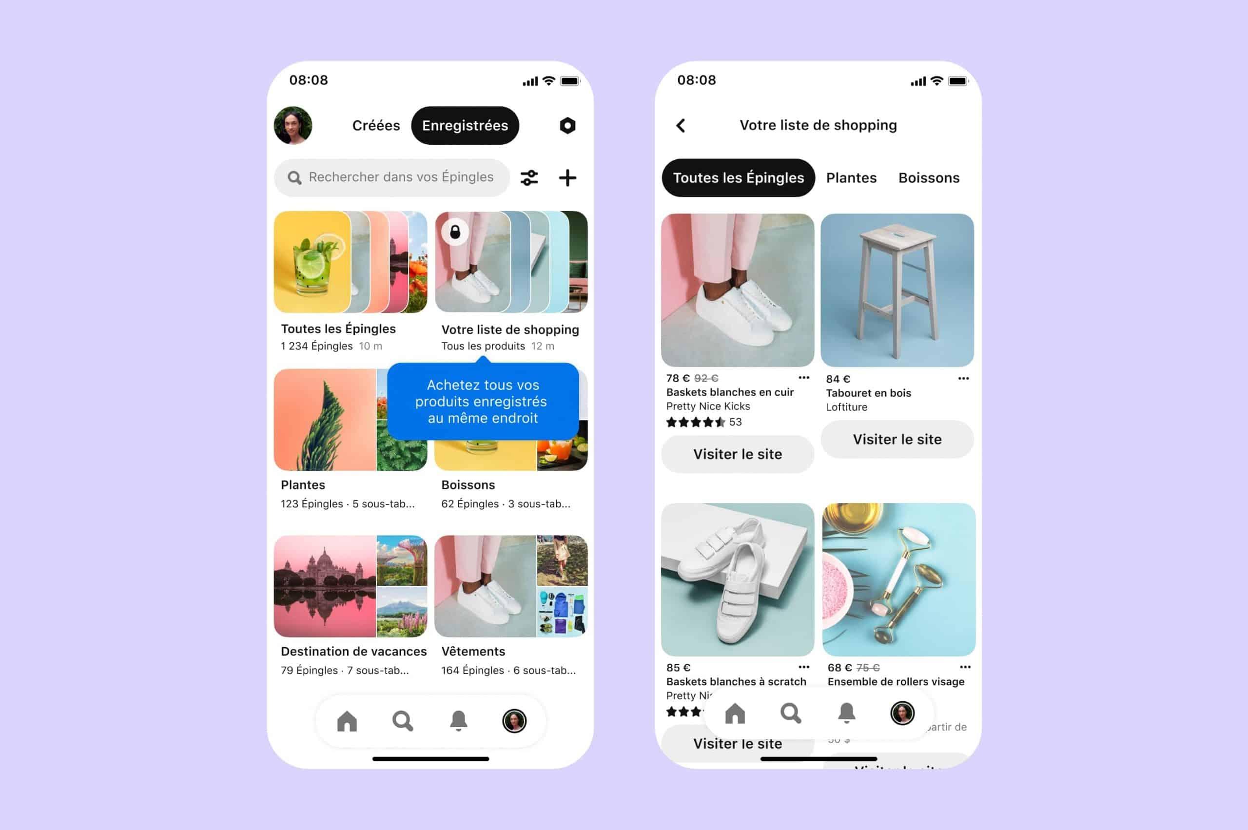 """introduction de l'onglet """"Shopping List"""" dans Pinterest"""