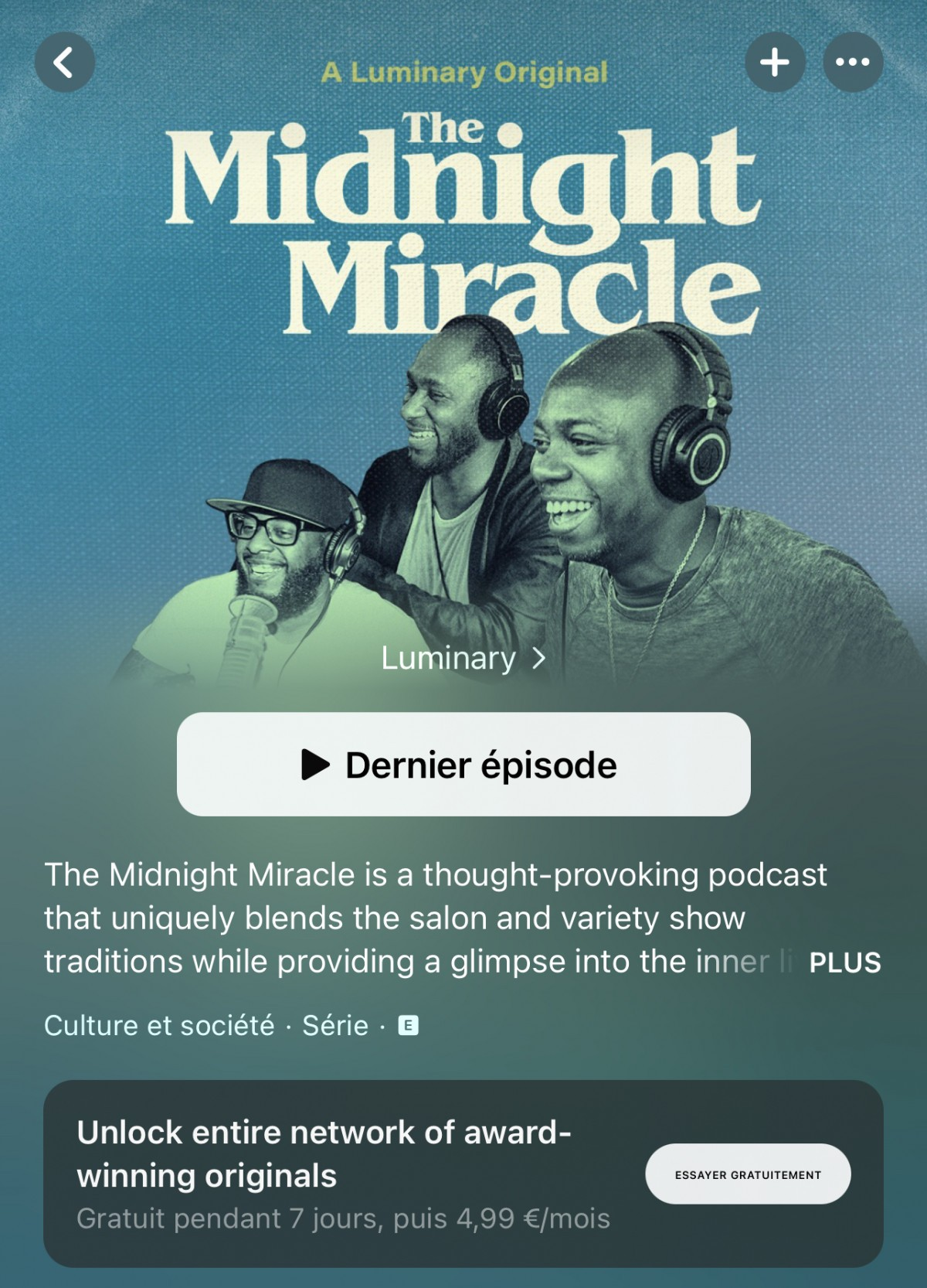 interface du podcast Midnight Miracle sur Apple Podcasts