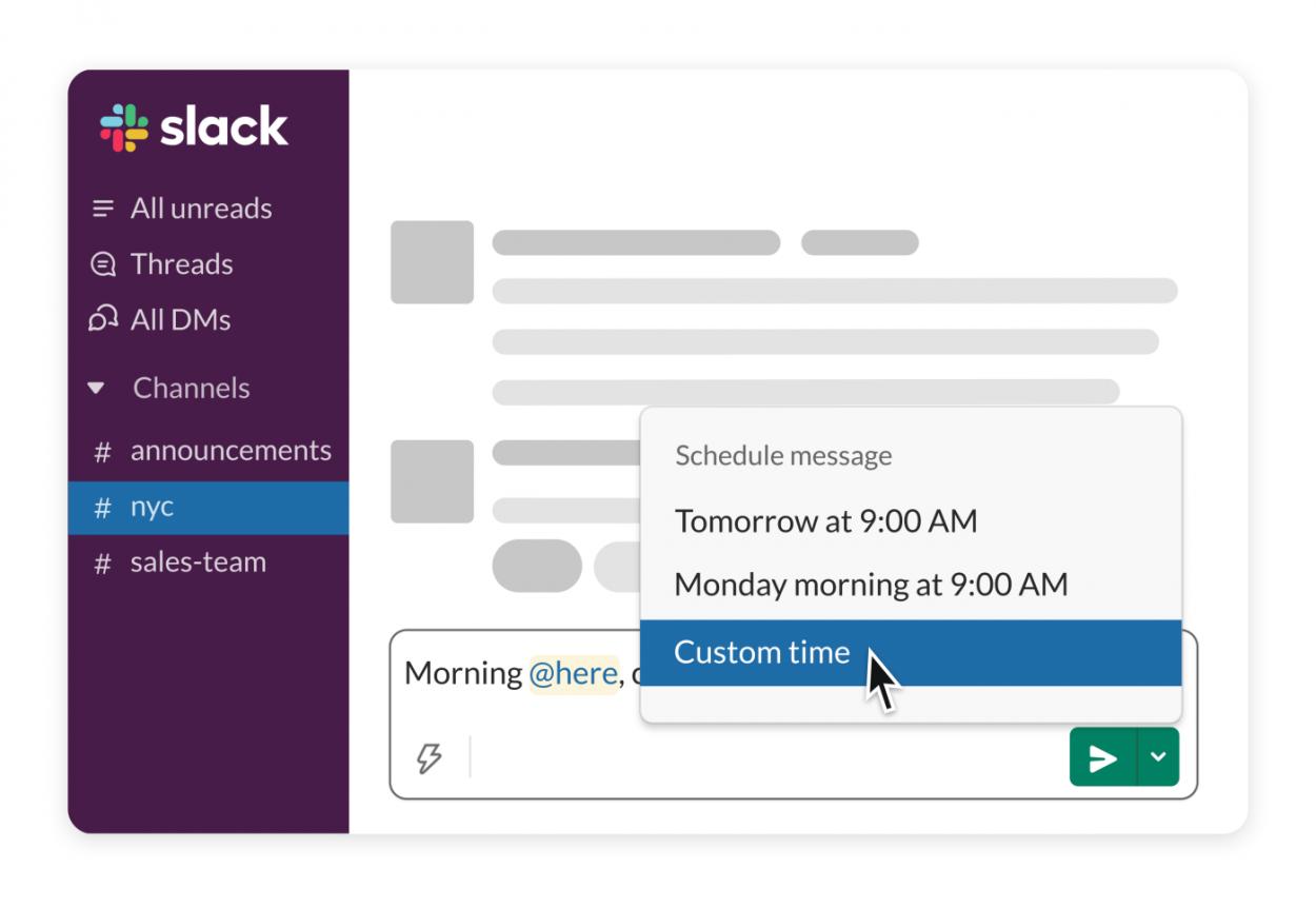 Plusieurs options se présentent à l'utilisateur souhaitant programmer la publication de son message sur Slack