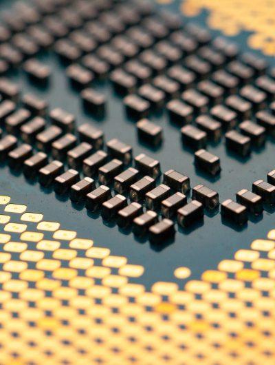 Une puce électronique en gros plans